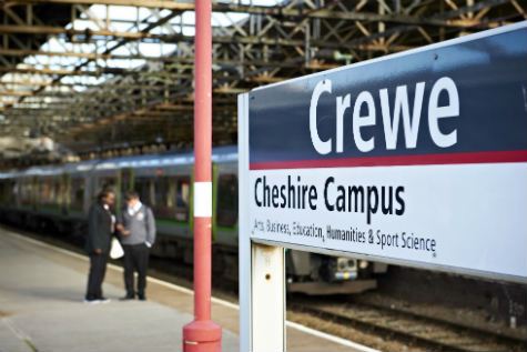 Sign on the platform at Crewe railway station