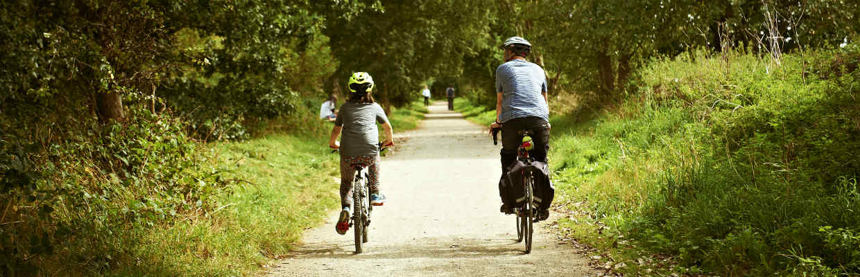 A father and son cycle down a country lane