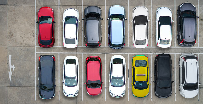 Aerial view of a car park