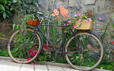 A bike decorated with flowers